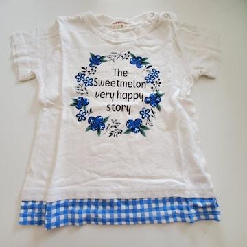 白すそ青チェック、ブルーベリー半袖Tシャツ95