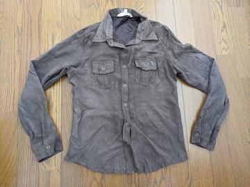 90ons 長袖シャツ 茶色 皮系の生地? Sサイズ