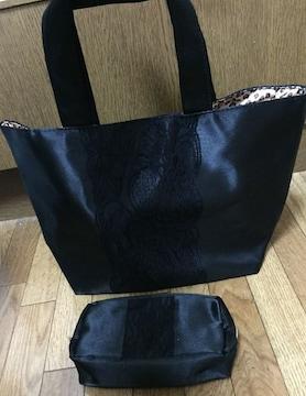 新品☆黒×ヒョウ柄バッグ&ポーチ