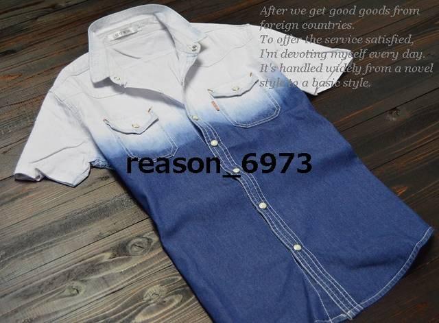 ★MMDD グラデーション柄 半袖デニムシャツ★3sizeから選択  < 男性ファッションの