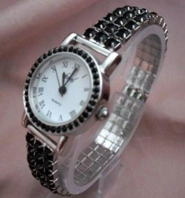 ラインストーンストレッチ腕時計BK−ウォッチ  < 女性アクセサリー/時計の