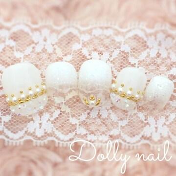 みぢょ!チビ爪ベリショ純白ホワイトグラデ花嫁ブライダル結婚式ネイル