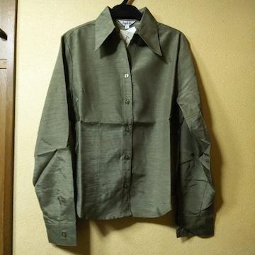 新品タグ付★光沢のある長袖シャツ/カーキ/M
