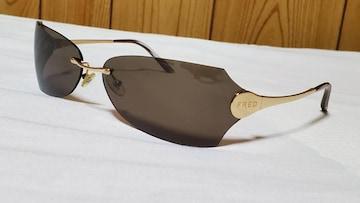 正規レア FRED フレッド ラグジュアリーアイウェア シャイニーメタルサングラス 黒系カーキ
