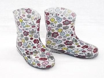 モンフレール レインブーツ 7008 14.0cm 花クマ 長靴