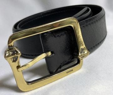 正規レア GUCCIグッチ ヴィンテージ ロゴ文字×バンブー スクエアバックルベルト黒 80