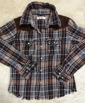 襟針金入りチェックシャツ 自由自在(^O^)