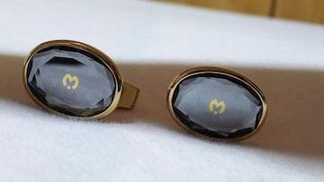 正規レア ミラショーン Mロゴクリスタルカフス ゴールド×クリアブルー リフレクトダイヤカットボタン