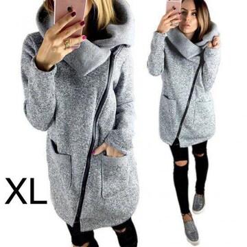 新品☆ななめジップ♪裏起毛ジャケット グレー XL