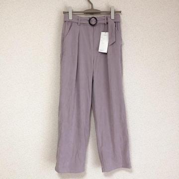 新品タグ付き ベルト付き、きれい色ピーチスキンワイドパンツ★