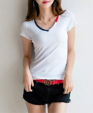 満点評価1890円★襟の縁取りがおしゃれなtシャツ 白 M
