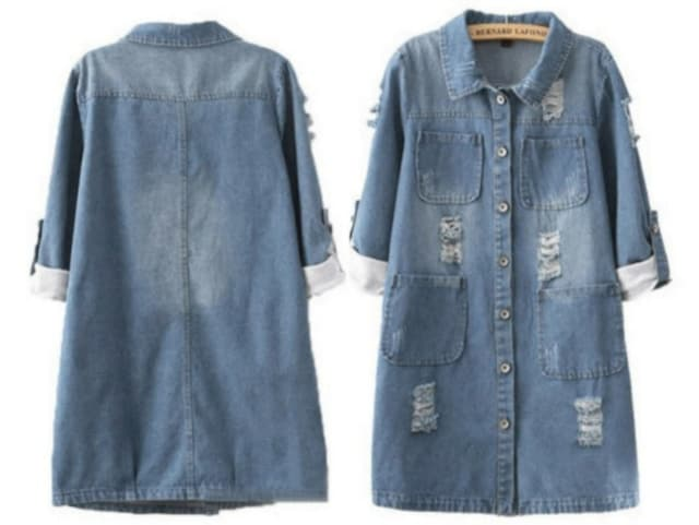 L,LLXL3L/新品☆袖2wayダメージ加工デニムジャケット20 < 女性ファッションの