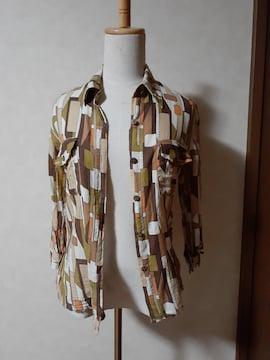 パンプキン 8分袖シャツ 茶系×総柄 個性的