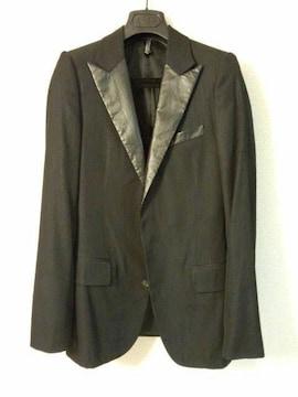 正規 激レア Dior Homme ディオールオム レザー調スモーキングジャケット 38黒 最小