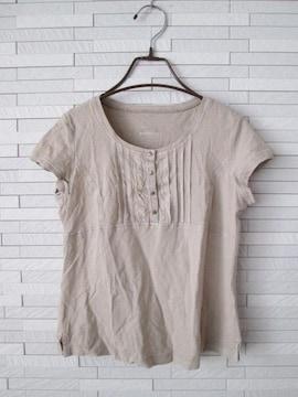 美品即決/ヘンリーネックカットソーTシャツ/ベージュ