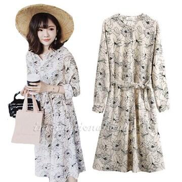 レディース服 花柄 ワンピース 七分袖 u9005