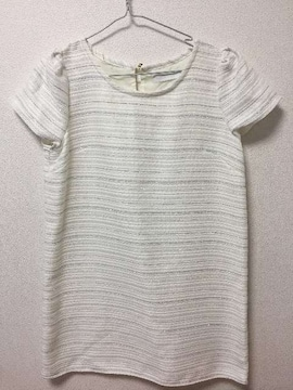 新品 セシルマクビー ツイード 半袖 ミニ ワンピース Aライン フレア ミニスカート 白