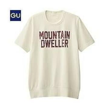 美品!GU☆スウェットロゴシャツ メンズ A 半 白 S