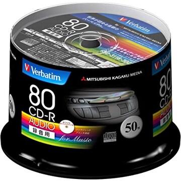 50枚 Verbatim バーベイタム 音楽用 CD-R 80分 50枚 ホワイトプ