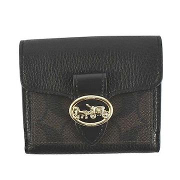 ◆新品本物◆コーチ ジョージー スモール 2つ折財布(BK/BR)『F7250』◆