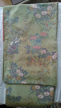 新品☆花柄の小紋*ウグイス色