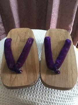 149.新品☆和装  2本歯げた☆鼻緒紫色☆22.5センチ