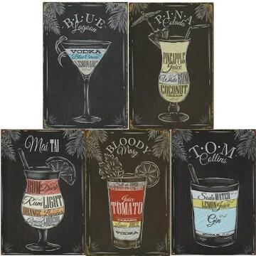 色Cocktail 【mon luxe】ブリキ看板 メタルプレート アメリカン