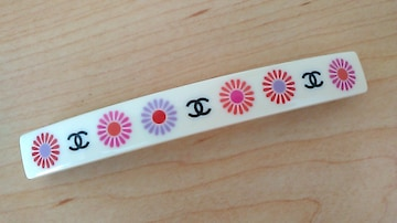 確実本物CHANEL☆可愛い花柄バレッタ☆フランス製