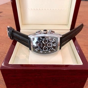 最安値!品のあるデザイン!メンズ腕時計・銀枠×ブラック
