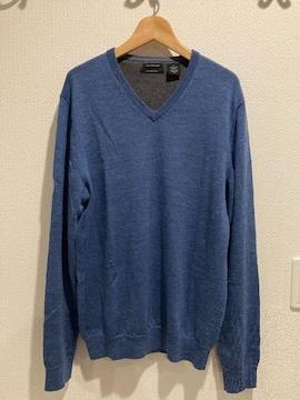 カルバンクラインジーンズ ニット セーター ブルー vネック トップス メンズ 長袖 CK