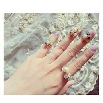 パール真珠 ネイルリングゆびわ指輪 ファランジリング