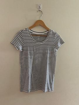 GAPギャップ 半袖ボーダーカットソー 白×黒 XS Tシャツ