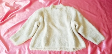 H&Mホワイトクリームふわモコ暖かゆる可愛い長袖ニットセーター
