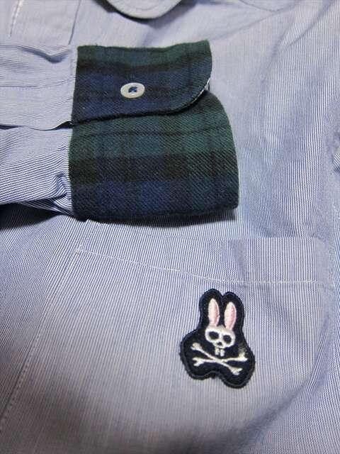 Psycho Bunny サイコバニー 丸襟ラウンドカラー長袖シャツ < 男性ファッションの