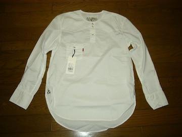 新品Levi's LeftyノーカラーシャツLストライプナンバーナイン