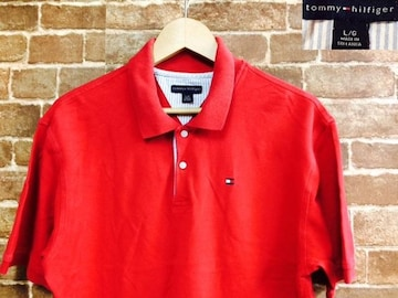 表記L!トミーヒルフィガー.赤.ユーズド.半袖.ポロシャツ.USA.古着.クラシックアメリカン