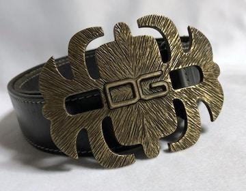 正規 ドルチェ&ガッバーナ バロック DGロゴ スパイダーバックルベルト 黒×金 81~95