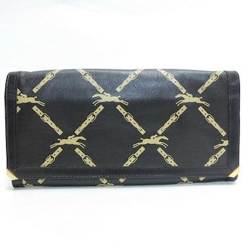 美品Longchampロンシャン 二つ折り長財布 ロゴ柄 茶 良品 正規品
