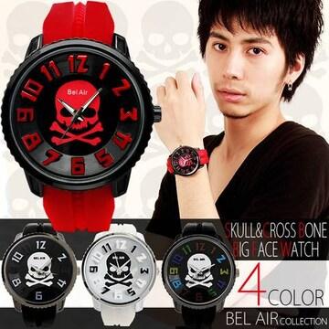 スカル3Dビッグフェイス&ラバーベルト腕時計BLK