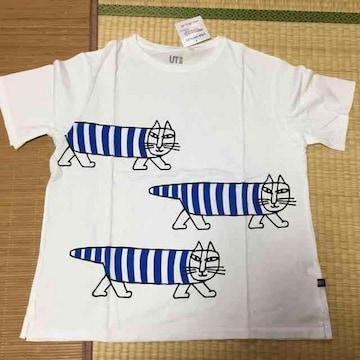 ユニクロ×リサラーソン・猫キャラクター柄Tシャツ。ブルー