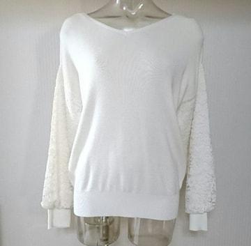 GU★レース コンビ スリーブ セーター