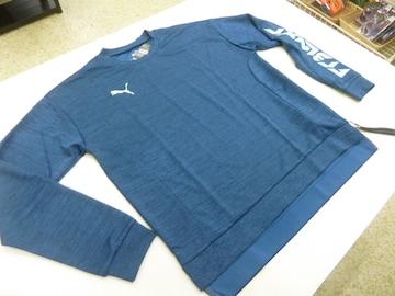 M濃青)プーマ★ロングスリーブシャツ 657030 丸首薄手片側サイドファスナー付