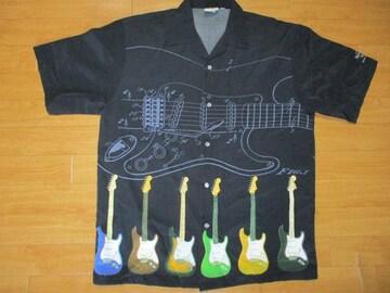 ハードロックカフェ ギター ハワイアンシャツ USA−S