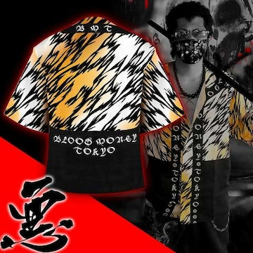 送料無料/ヤンキーチンピラオラオラ系和柄ベースボールシャツ/B系HIPHOP服15007-M