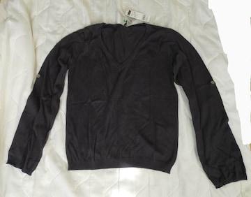 新品 BENETTON ベネトン Vネック セーター レディース 黒 S