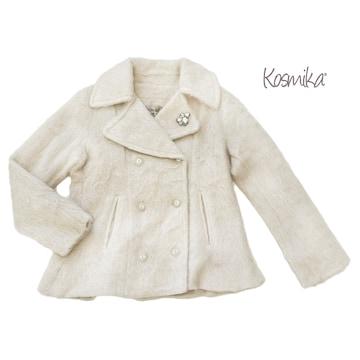 新品コスミカkosmikaイタリア製モヘアジャケットコート♯Lオフ