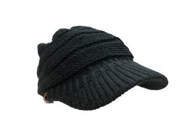 送料無料 N790 ニット つば 付 帽子 キャップ Cap