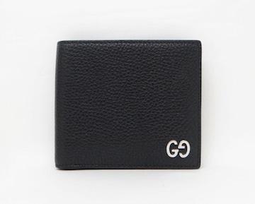 グッチ 473922 GG ドリアン レザー 二つ折り財布 ブラック【送料無料】