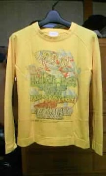古着 プリント 長袖Tシャツ ロンT Sサイズ 黄色 イエロー ユーズド加工 ヴィンテージ