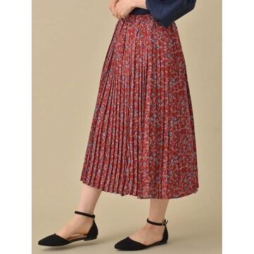 新品 定価3990円 ショコラフィネローブ 花柄 プリーツ スカート